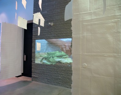 video playing in homemaking installation at two rivers gallery