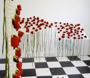 roses and stems drooping on day 7 of installation