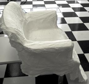 handmade paper cast hair stylist chair