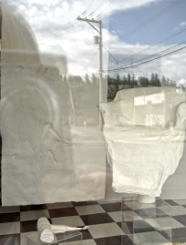 street view of hair styling installation; cast hand made paper