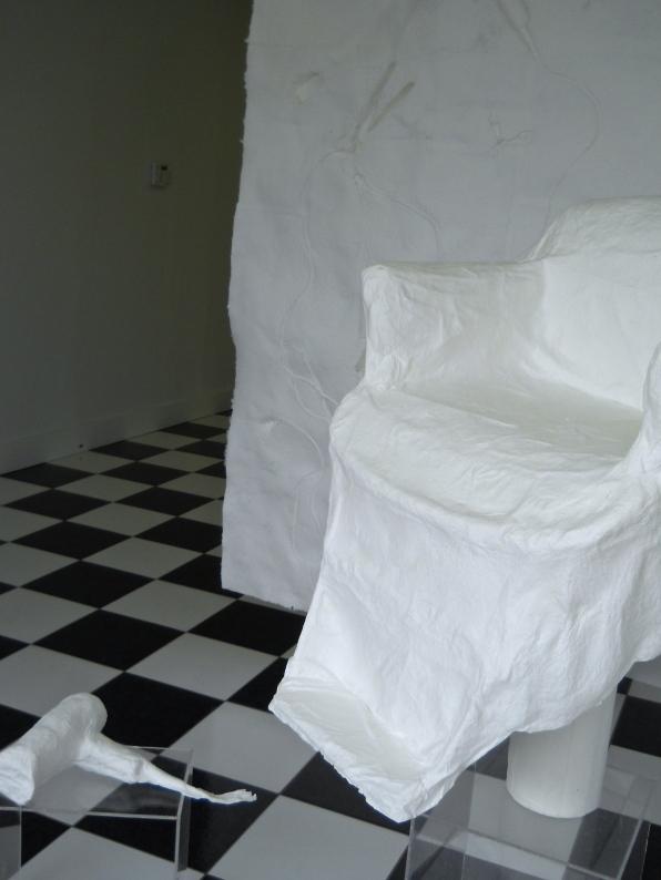 cast handmade paper chair, screen, blowdryer studio view