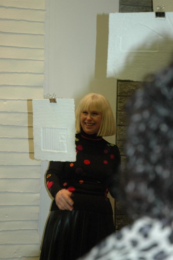 Susan giving artist talk at opening reception
