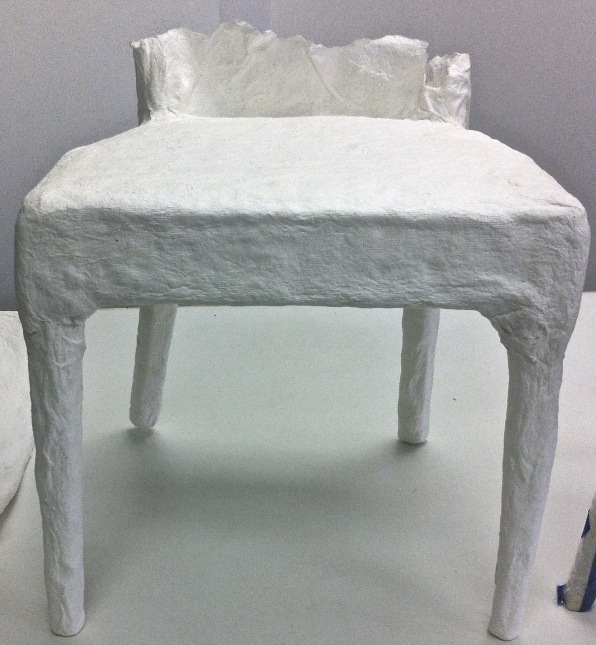 paper cast of seat and legs of chair