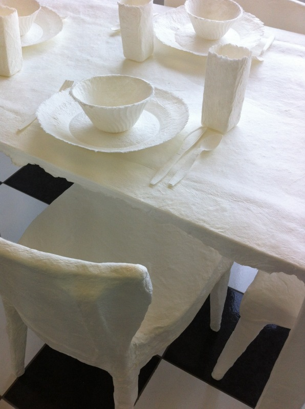 cast paper table, chair detail