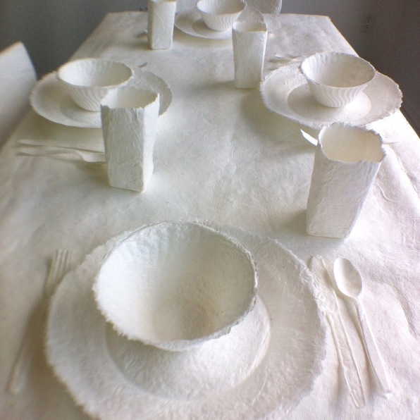 cast paper table with cast table settings
