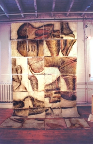 hand made paper quilt pieces with drawings